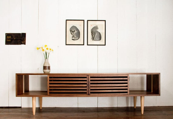 Bucks media console modern solid walnut and maple tv - Media consoles for small spaces plan ...