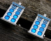 Doctor Who Cufflinks, Dr Who Cufflinks, Police Box Tardis Cufflinks, Steampunk Cufflinks, Mens Jewelry, Geekery, Kitsch Vintage Scifi