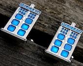 RESERVED LISTING- Doctor Who Cufflinks, Dr Who Cufflinks, Police Box Tardis Cufflinks, Geekery, Kitsch Vintage Scifi