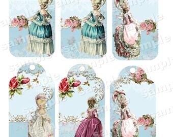 Instant Download - Marie Antoinette Era - Regency  -  Printable Digital Collage Sheet - Digital Download