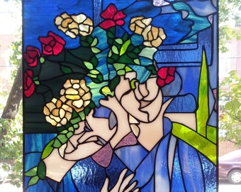 """Stained glass Hanging Panel - """" Marc Chagall Painting"""" (P-41)"""