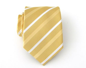 Mens Ties. Necktie Yellow and White Stripes Mens Tie