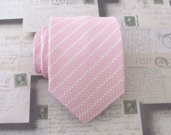 Mens Ties. Necktie Pink and White Stripes Mens Tie