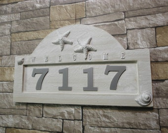 Starfish cottage seashell address plaque by for Bungalow house numbers
