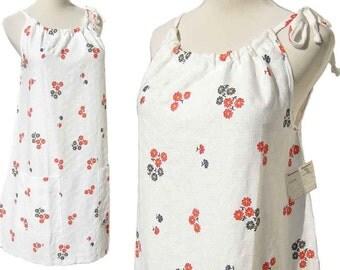 Vintage 70s Dress Floral White Cotton Sundress Shift w/Tag NOS L