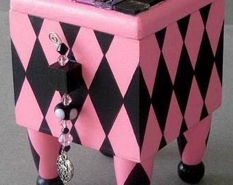 Pink Crazy Love Hand Painted Decorative Keepsake Trinket Jewelry Box