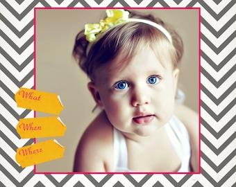 Lexi 5x5 Birthday Card or Birth Announcement - Digital Template for Photographers