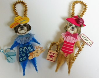 Shih Tzu BEACH vintage style CHENILLE ORNAMENTS feather tree set of 2
