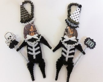 Coonhound SKELETON Halloween vintage style CHENILLE ORNAMENTS set of 2