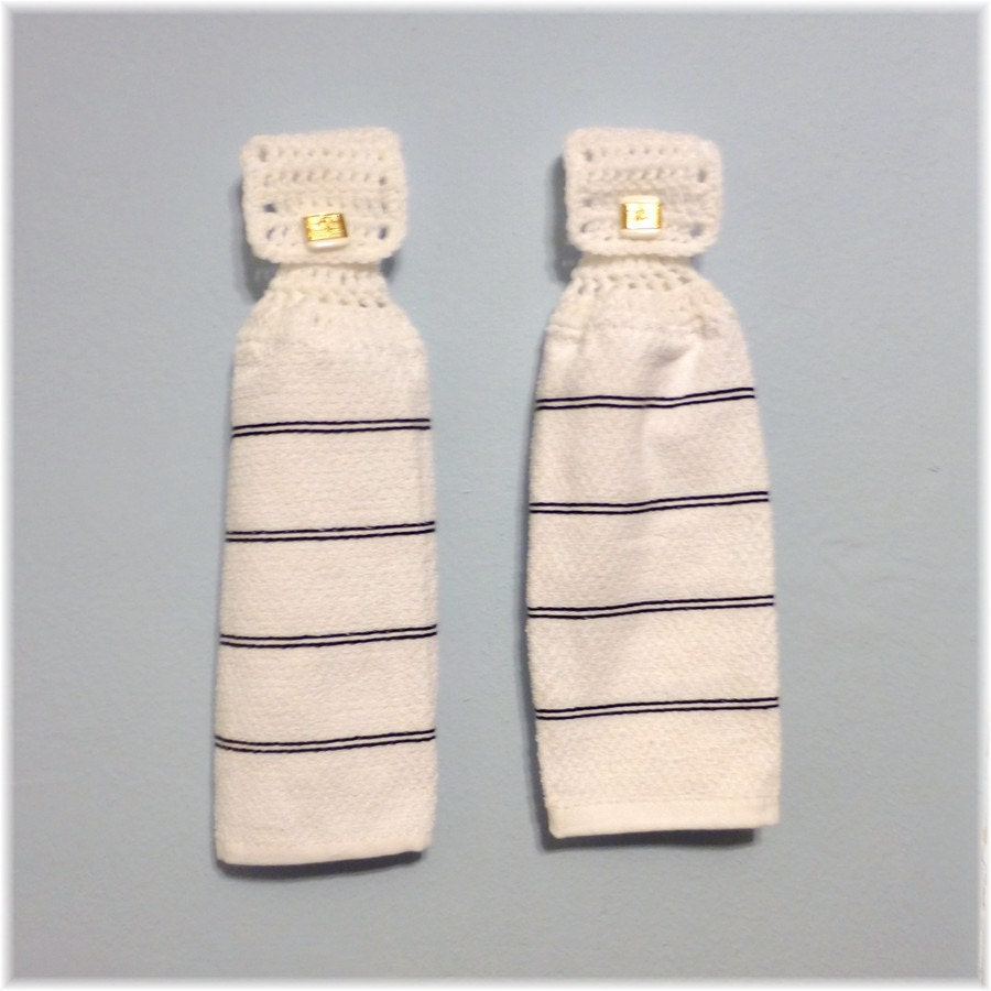 Hanging Kitchen Towels White with Black Lines Matching Pair