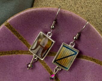 A to Z INITIALS in photo earrings with resin