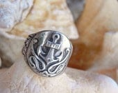 Anchor Jewelry, Anchor Ring, Anchor Signet Ring, Nautical Signet Ring, Sterling Silver Anchor Jewelry, ANCHOR Ring, Nautical Anchor Jewlery