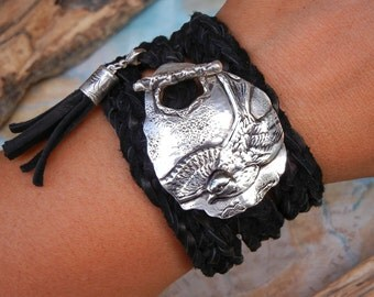Sterling Silver Bird Jewelry, Silver Bird Bracelet, Silver Bird Wrap Bracelet, Metal Bird Bracelet, Birdie Jewelry Gift