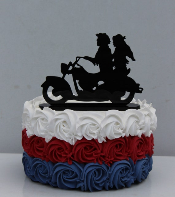 Items Similar To Motorcycle Biker Wedding Cake Topper
