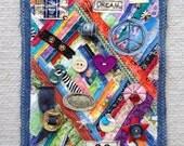 Textile art wallhanging by Lisa mixed media art piece OOAK