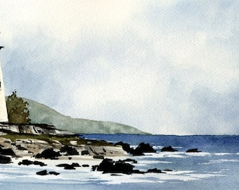 LIGHTHOUSE Art Print by Watercolor Artist DJ Rogers