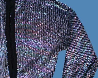 Vintage 50s Iridescent Sequined Cardigan Sweater M