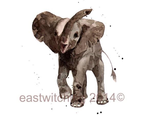Elephant Print, 8x10, cute animal art, nursery elephant