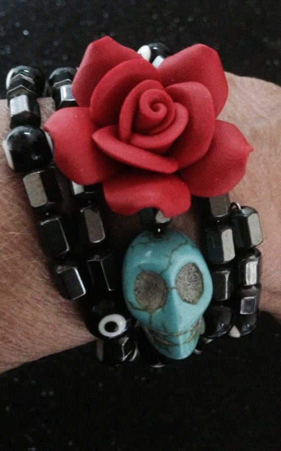Rockabilly Day of the Dead Hematite Beaded Design Bracelet-Every Design Tells A Story-