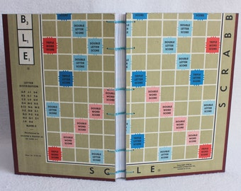 Scrabble Journal Recycled Game Board Book / Gameboard Notebook / Large size 11 by PrairiePeasant