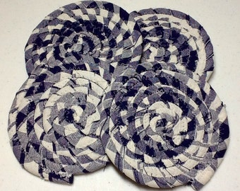 Bohemian Coiled Fabric Coasters - Blue and White - Storage and Organization handmade