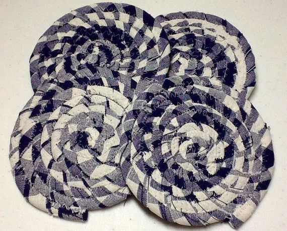 Bohemian Coiled Fabric Coasters Blue and White Storage and