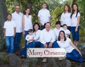 MERRY CHRISTMAS SIGN, Family Christmas Pictures, Christmas Sign,  32 x 8 1/2