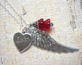 Sister Heart Necklace, Sister of An Angel, Wing Necklace, Silver Heart, Charm Necklace, Red Beads, Gift for Sister, Jewelry For Sister