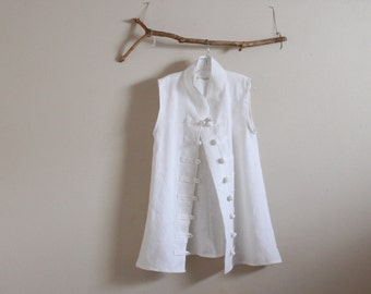 long length vest style heavy linen  top size XS to 6XL