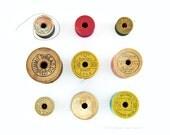 Vintage thread spools - 8 x 8 photograph - antique wooden spools