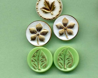 Five Glass Buttons With Leaves And Gold Luster