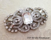 Art Deco Rhinestone Brooch Crystal Brooch, Wedding Brooch, Bridal Sash Pin, Rhinestone Broach