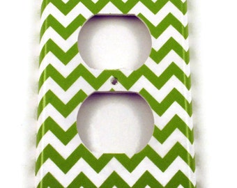 Light Switch Cover Wall Decor Outlet Cover  Switchplate Switch Plate in  Green Chevron   |200O|