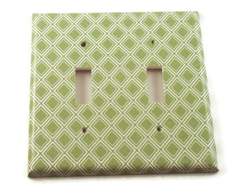 Double Light Switch Cover   Wall Decor Double Switch Plate in  Sage Diamonds  (107D)