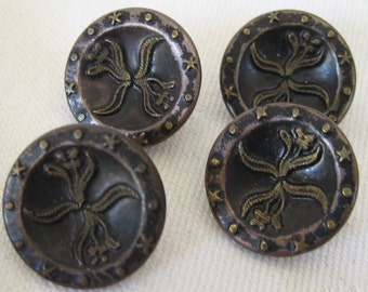 Set of 4 ANTIQUE Small Flower Metal BUTTONS