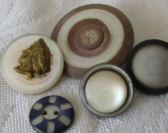 Lot of 5 ANTIQUE Iridescent Shell Carved & Escutcheon plus BUTTONS