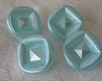 Set of 4 VINTAGE Frosted Aqua Blue Clear Glass BUTTONS