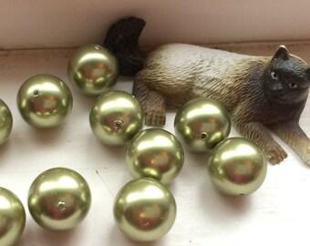 4 Swarovski Crystal Pearl Beads, Light Green, 12mm round.