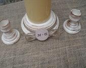 Shabby Chic Wood Wedding Personalized Unity Candle Holder Set - You Pick Color - Item 1568