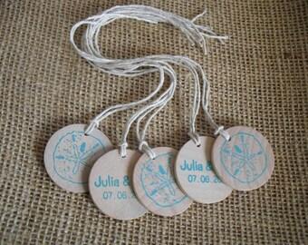 Beach Sanddollar Wedding Favor Tags Personalized Wood Circles - Set of 10 - Item 1547