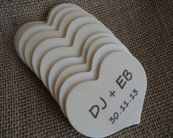 Wedding Guest Book Alternative - Personalized Wood Hearts - Set of 10 - Item 1550