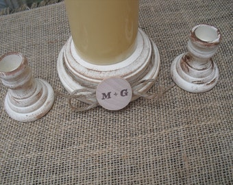 Shabby Chic Wood Wedding Personalized Unity Candle Holder Set - You Pick Color - Item 1568