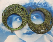 Verdigris Patina Brass Round Boho Hoop Stampings 972VER x2