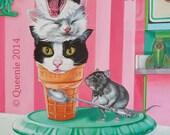 Kitty Cone Version 2 Ice Cream Cat Cats Kitten  Acrylic Painting Pocket full of Posiez