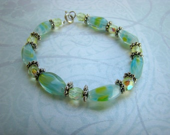 SALE - Silver with Yellow and Green Marble Beaded Bracelet - Bella Mia Beads - READY to SHIP
