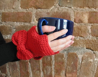 Lady Bows | Handmade Crochet Fingerless Gloves / Retro Inspired / Cherry Red Gloves with Bows / Merino Wool / Women's Mittens Ready to Ship