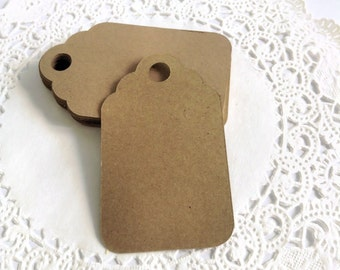 25 Blank Kraft Paper Tags Cardstock 2.5 x 1.5 inches