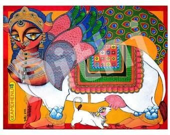 Kamdhenu the wish granting cow Goddess MAXI PRINT