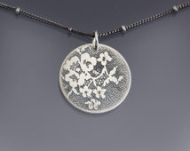 Etched Silver Circle Lace Necklace - elegant sterling silver by Lisa Hopkins Design