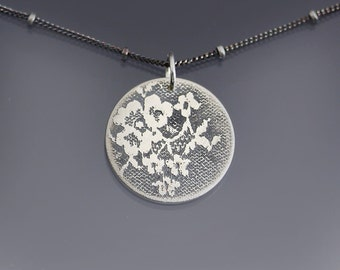 Silver Lace Necklace, simple circle necklace,  etched sterling silver necklace,